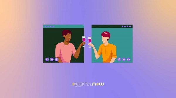 two people cheers wine over zoom in accordnace to social distancing guidelines